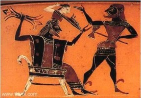 Atenea nace de la cabeza de Zeus, con la ayuda de Hefesto
